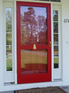 Front Door Screen Painted Storm Door, Painted Screen Doors, Custom Screen Doors, Wooden Screen Door, Diy Screen Door, Wooden Front Doors, Metal Doors, Front Storm Door Ideas, Front Door With Screen