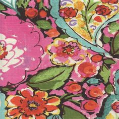 Use this beautiful black, pink,green and yellow floral drapery fabric for drapes,bedding, pillows and lightweight upholstery.v004PREF