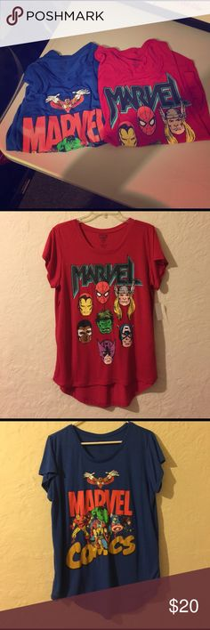 Marvel graphic t shirts (2) Blue one is brand new without tags and red one is brand new with tags. Very soft and stretchy. Sie XL. Listing price is for both shirts. Marvel Tops Tees - Short Sleeve