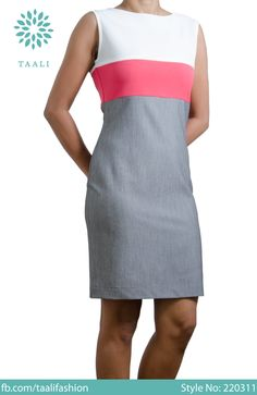 Simple but striking.    Three colour sleeveless dress.    Sizes 8, 10, 12 & 14.
