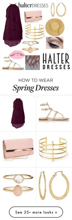 """""""Golden Maroon"""" by pandatrix on Polyvore featuring Prada, New Look, Fragments, BauXo, Accessorize, Mehron and halterdresses"""