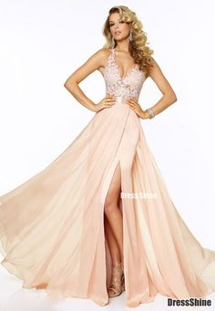 Lace and Chiffon with Beading V Neck Prom Dress - Evening Dresses - Social Occasion