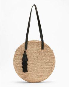 Express metallic round straw tote
