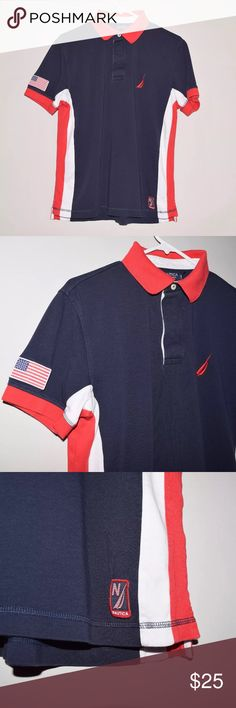 Rare Nautica A Bit Trimmer Slim Fit Polo Shirt USA Brand: Nautica Item name: Men's A Bit Trimmer Slim Fit USA Polo Shirt   Color: Red / White /Blue Condition: This is a pre-owned item. It is in excellent condition with no stains, rips, holes, etc.Comes from a smoke free household. Size: Medium Measurements laying flat: Pit to pit - 21 inches Neckline to base - 27 inches Nautica Shirts Polos