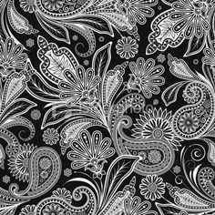 Gorgeous Black & White Paisley pattern