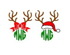 Christmas Reindeer Antlers Bow Santa Hat Monogram cutting file svg, dxf, eps Cricut Design Space Cameo Silhouette Studio by Vinyldecalsworld on Etsy