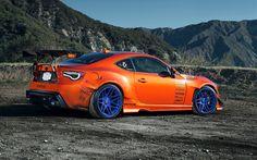 Orange Toyota FR-S Blue Rims Wallpaper - http://www.gbwallpapers.com/orange-toyota-fr-s-blue-rims-wallpaper/ (Blue, Orange, Rims, Toyota FR-S, Wallpaper / Cars)