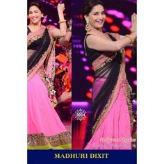 Madhuri Dixit Bollywood Replica Pink and Black Crepe Lehenga Saree with Lace Work