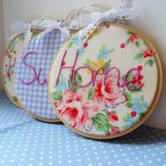 hoop art   Embroidery Hoop Art Set by prettystitchedup on Etsy, £20.00
