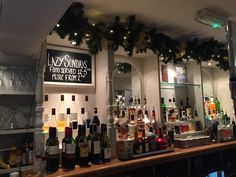 The beautiful bar we decorated at the Bay Horse Inn