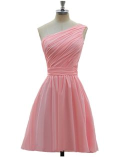 AIJIAYI Women's One Shoulder Chiffon Short Prom Bridesmaid Dresses Pink US Size 12 * Continue to the product at the image link. (This is an affiliate link and I receive a commission for the sales)