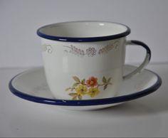 Vintage  Monterrey Mexico Enamel 10oz Cup  Saucer Foral Design Blue Rim Handle