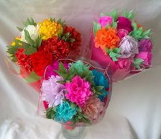 Bunches of crepe paper flowers