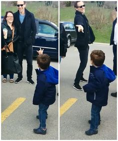 Tom Hiddleston meeting fans in Hamilton, Ontario... he was pretending to be Spiderman with this little boy! How many actors do you know will do that? Gotta love him!