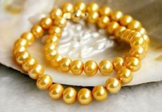 "Pretty! 8-9Mm Gold Akoya Cultured Pearl Necklace 18"" Aa+"
