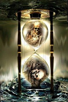 "Clock Hourglass Time: ""Skull by Brynhilder, at deviantART. Dark Artwork, Skull Artwork, Grim Reaper Art, Badass Skulls, Hourglass Tattoo, Totenkopf Tattoos, Rock Poster, Beautiful Dark Art, Bild Tattoos"