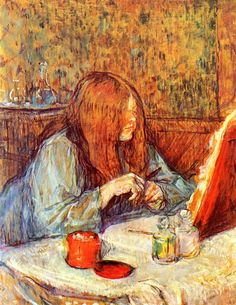 Toulouse Lautrec- Doesn't this look like a modern rendition and that she is staring at her laptop? THE GREEN MAN OVER THERE, LIKE TOM HEMMINGS. CONTRAST IN COLOUR!!!!