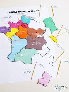 Pour apprendre les régions de la France métropolitaine et leurs villes Chefs-lieux, rien de mieux que ce puzzle à imprimer ! Entre jeu et leçon de géographie, voici la carte des régions de France à imprimer et à assembler ! Un set idéal pour les élèves de cycle 3 !