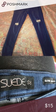 EUC Suede brand Olivia high rise skinny jegging 32 Amazingly soft and stretchy jeggings. These feel more like leggings but look like deconstructed jeans. Lots of stretch. Fit like a 14 suede Jeans Skinny