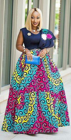 Long skirt with African print, African fashion, Ankara, kitenge, African woman dress . Latest African Fashion Dresses, African Dresses For Women, African Print Dresses, African Print Fashion, African Attire, Fashion Prints, African Prints, African Women, Men's Fashion