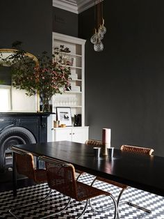 The beautiful Brunswick home of Kate Dinon and Alex Ksugas. Photo – Annette O'Brien. Production – Lucy Feagins / The Design Files. Dining Room Inspiration, Interior Inspiration, Dining Room Design, Dining Room Furniture, Furniture Ideas, Beautiful Dining Rooms, Dark Dining Rooms, Dark Rooms, Dark Interiors