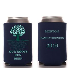 Our Roots Run deep Family Reunion Favors, Personalized, Beer Can Cooler, Bottle…