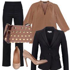 Un tailleur nero, come questo di Patrizia Pepe, può essere abbinato in mille modi. Io l'ho fatto pensando al color nudo e oro. La blusa è molto chic, la borsa non passa inosservata e le décolleté sono semplici ma molto eleganti.