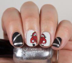 The Digital Dozen does Metal - Day VW Beetle featuring Zoya Black Swan and Zoya Trixie Sexy Nails, Love Nails, Trendy Nails, Fun Nails, Cute Nail Art, Gel Nail Art, Nail Polish, Garra, Volkswagen