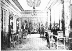 The trellis room of the famous Colony Club, a ladies club with its building designed by Stanford White, interiors by Elsie Wolfe. There was a gymnasium on the second level, and a swimming pool below ground. Early Equinox???