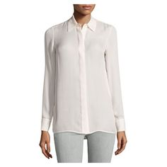 Vince Striped Long Sleeve Silk Blouse, Off White Rosewood ($219) ❤ liked on Polyvore featuring tops and blouses