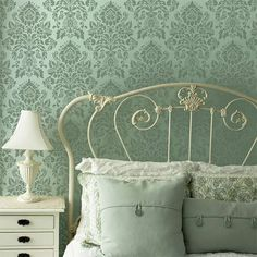 Damask allover wall stencils-so pretty in soft colors for a bedroom!