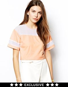 Lavish Alice T-Shirt with Kimono Sleeve and Sheer Inserts