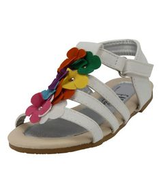 Loving this White & Rainbow Flower Sandal on #zulily! #zulilyfinds