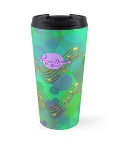 Abstract Bubbles Gold Music Swirl Travel Mug by #MoonDreamsMusic #TravelMug #AbstractBubbles #GoldMusicSwirl