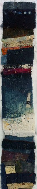 Jenny Bullen, Shoreline detail Where the sea and shore meet. Indigo dyed fabrics and thread, with hand stitch.