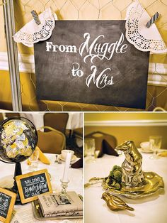 Magical Harry Potter Themed Bridal Shower with golden snitches, welcome to potions class, whomping willow sign in, wizard desserts and muggle to mrs. sign!