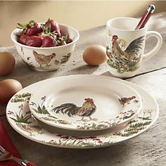 16-Piece Southern Rooster Dinnerware Set with Rebate & Beautifully Hand Decorated 16 Piece Ceramic Tuscan Rooster ...