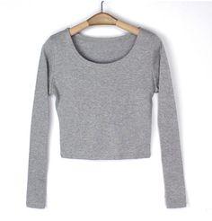 Women's Boat Neck Crop Striped Long Sleeve Slim Blouse Tops T Shirt