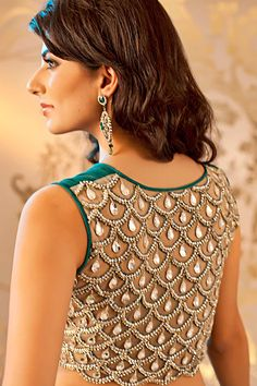 mermaid blouse back. Shop online at    http://www.satyapaul.com/satyapaul/shop/bridal-wear/bridal-sarees/green-ombre-saree-esw2003-01   and visit us at http://www.facebook.com/SatyaPaulIndia