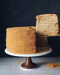 Layers and layers of cake goodness! Sitting pretty on top of our cake stand | Aheirloom #cake #yum #food