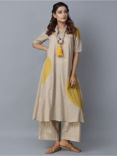 Grey Block Printed Khadi Kurta