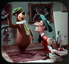 View-Master image of Yogi Bear with Mike Angelo | Tags: Hanna-Barbera, artist, painting, studio, paint brushes