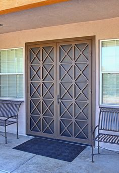 Alexon French Security Screen Doors - First Impression Ironworks Security Gates, Security Screen, External French Doors, Burglar Bars, Window Bars, Window Grill, Grill Design, Iron Doors, Oak Doors