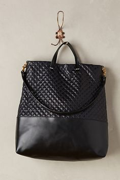 Quilted Shopper Tote in navy