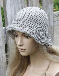 eb56d0a4 Crochet Hat Pattern for Women Judy 1920s Beanie with Flap Casual ...