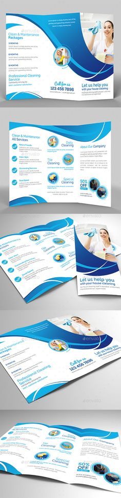 Eco - Cleaning Service by creativesole Cleaning service / laundry trifold brochure template. This layout is suitable for any project purpose. Very easy to use and custom