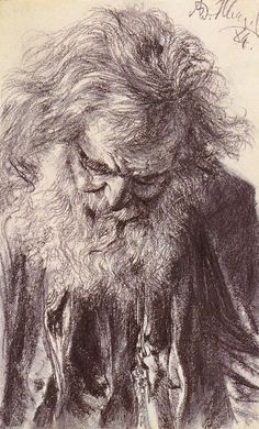 "Adolph von Menzel, ""Portrait of an Old Man,"" Pencil Drawing, 1884."