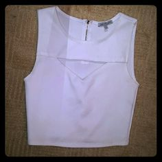 White Fancy Crop Top White, worn probably twice. Good condition. Charlotte Russe Tops Crop Tops