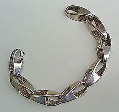 Uno A Erre Modernist Sterling Silver Bracelet - Italy