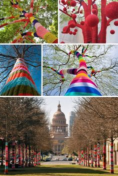 Yarn bombing is graffiti that grandmothers approve of! They consist of quickly knitted additions to street objects and sculptures.